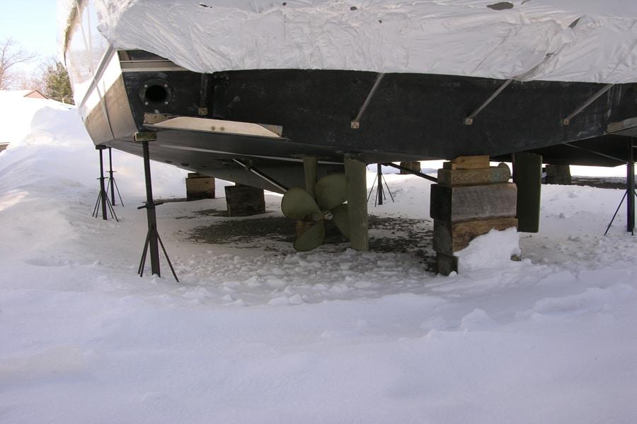 On peut laisser le bateau sur sa remorque ou le soutenir à l'aide de blocs et de tiges d'appui.