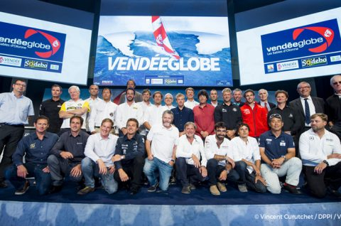 Skippers and officials picture during official launch of the Vendee Globe 2016 at Palais Brongniart in Paris, France, on september 14, 2016 - Photo Vincent Curutchet / DPPI / Vendee Globe - From left to right - 1st row : Sebastien Josse, Morgan Lagraviere, Conrad Colman, Stephane Le Diraison, Enda O'Coineen, Kito de Pavant, Alan Roura, Didac Costa, Kojiro Shiraishi, Alex Thomson, Nandor Fa - 2nd row : Pieter Heerema, Romain Attanasio, Louis Burton, Eric Bellion, Thomas Ruyant, Jean Le Cam, Yann Elies, Tanguy de Lamotte, Arnaud Boissieres - 3rd row : Jeremie Beyou, Fabrice Amedeo, Bertrand de Broc, Paul Meilhat, Vincent Riou, Jean-Pierre Dick, Armel Le Cleac'h, Sebastien Destremau, Rich Wilson - Officials : Yves Auvinet (CG85 President) on the right