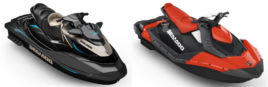 Selon votre utilisation, Sea-Doo propose des modèles en fibre de verre ou en Polytec. (La coque en fibre de verre est à gauche et celle en Polytec à droite.)