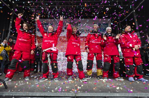 Maxi Trimaran IDEC SPORT, Skipper Francis Joyon and his crew, break the Jules Verne Trophy record, crew circumnavigation, in 40d 23h 30min 30sec, in Brest on January 26, 2017 - Photo Jean-Marie Liot / DPPI / IDEC Sport Celebration on podium
