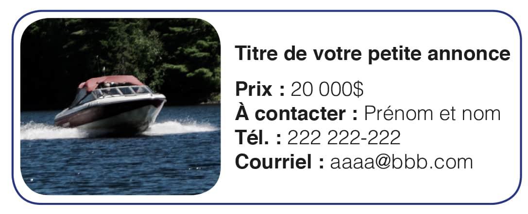 Exemple de petite annonce - Magazine Quebec Yachting - Bateau a vendre